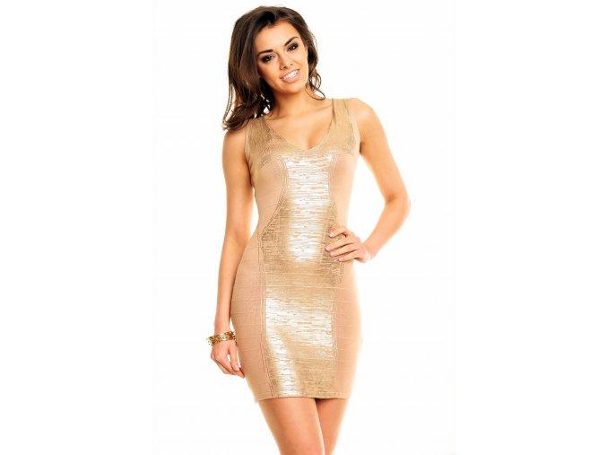 Sexy společenské šaty Delsie zlato-béžové
