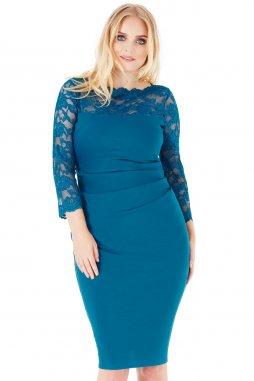Společenské šaty pro plnoštíhlé Queen modrozelené