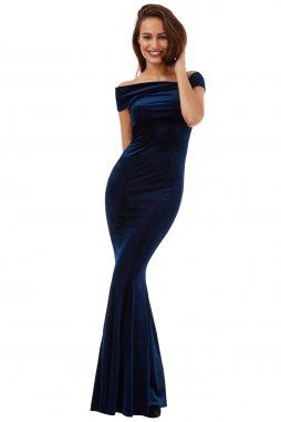 Plesové sametové šaty Doretta tmavě modré