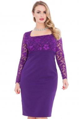 Společenské šaty pro plnoštíhlé Devon fialové s krajkou