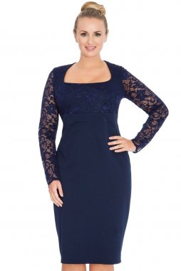 Společenské šaty pro plnoštíhlé Devon tmavě modré s krajkou
