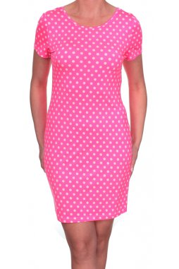 Šaty Lindy vzor 10 růžové s bílými puntíky