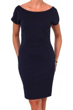 Společenské šaty pro plnoštíhlé Elma tmavě modré