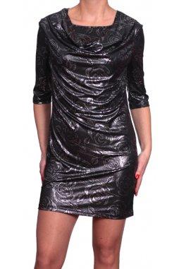 Společenské šaty pro plnoštíhlé Terry II černostříbrné