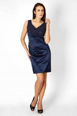 Společenské šaty pro plnoštíhlé Jacklyn s krajkou tmavě modré