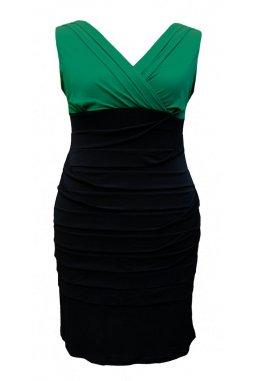 Společenské šaty pro plnoštíhlé Vera zeleno-černé