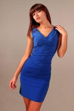 Společenské šaty pro plnoštíhlé Vera modré