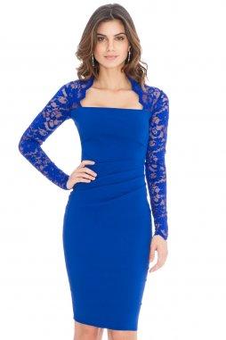 Společenské šaty Avery modré s krajkou