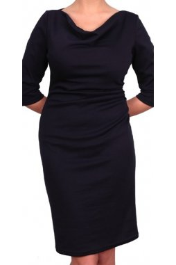 Společenské šaty pro plnoštíhlé Camilla tmavě modré