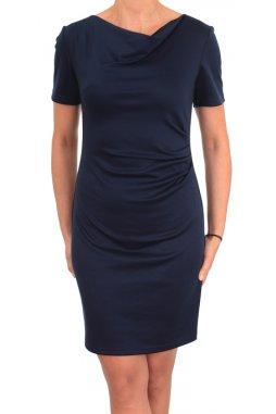Společenské šaty pro plnoštíhlé Camilla krátký rukáv tmavě modré