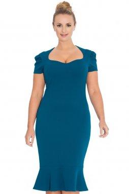 Společenské šaty pro plnoštíhlé Loretta modrozelené