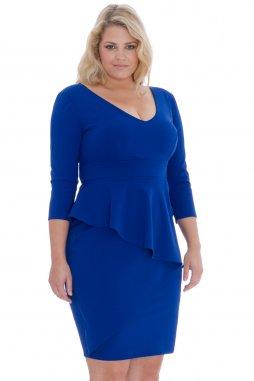 Společenské šaty pro plnoštíhlé Isaura modré