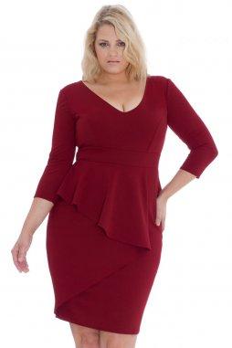 Společenské šaty pro plnoštíhlé Isaura vínově červené