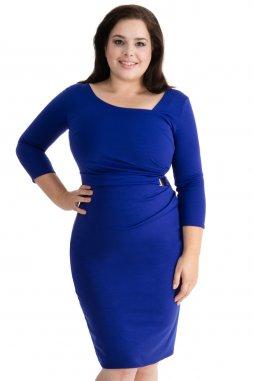 Společenské šaty pro plnoštíhlé Desirae modré