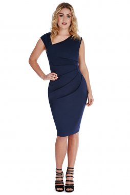 Společenské šaty pro plnoštíhlé Courtney tmavě modré