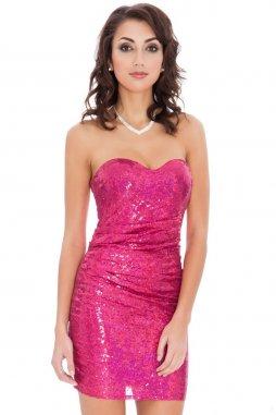Společenské flitrové šaty Lizeth fialovorůžové