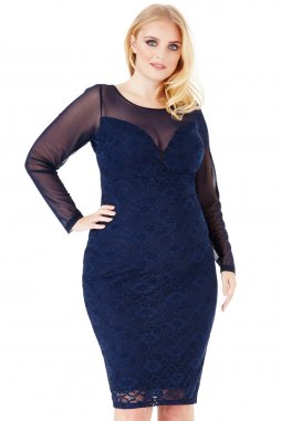 Společenské šaty pro plnoštíhlé Loriann tmavě modré s krajkou