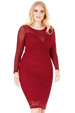 Společenské šaty pro plnoštíhlé Loriann vínově červené s krajkou
