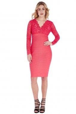 Společenské šaty pro plnoštíhlé Gwyneth lososové s krajkou