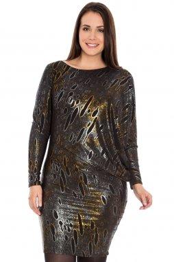 Společenské šaty pro plnoštíhlé Mirella II zlato-černo-stříbrné