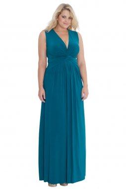 Plesové šaty pro plnoštíhlé Harmony modrozelené dlouhé