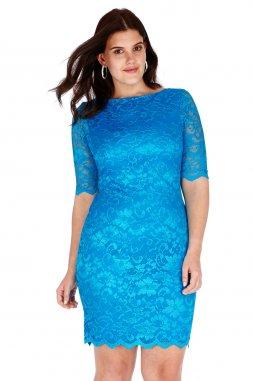 Společenské krajkové šaty pro plnoštíhlé Caprice tyrkysové