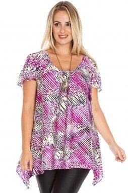 Společenská tunika pro plnoštíhlé Anja fialová se vzorem