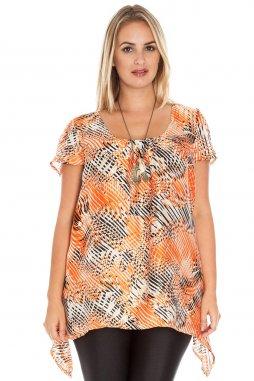 Společenská tunika pro plnoštíhlé Anja oranžová se vzorem