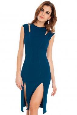 Koktejlové šaty Kirsten modrozelené