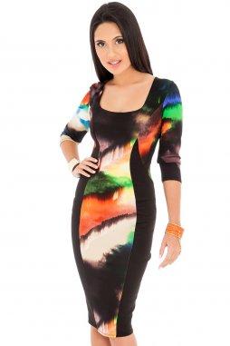 Společenské šaty Madie černé se vzorem