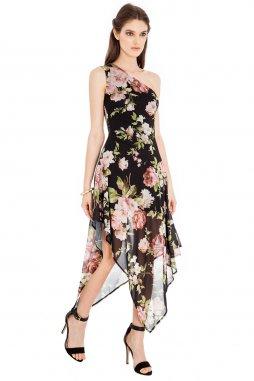 Společenské šaty Dakota černé s květy