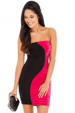 Společenské šaty Shelly černo-fuchsiové