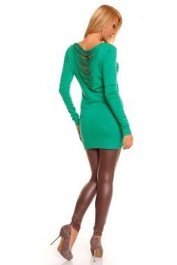 Úpletová tunika Jessica zelená zezadu