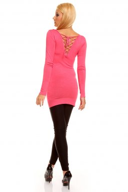 Úpletová tunika Nicole růžová zezadu