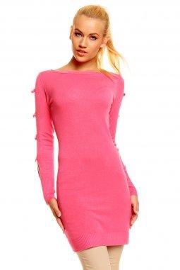 Úpletové šaty tunika Sylvia růžová