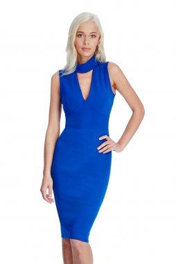 Společenské šaty pro plnoštíhlé Evette modré
