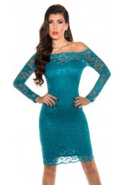 Společenské šaty Magnolia modrozelené s krajkou