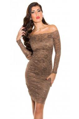 Společenské šaty Magnolia hnědé s krajkou