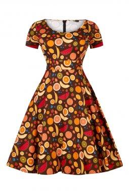 Retro šaty pro plnoštíhlé Penney hnědé s ovocem 3
