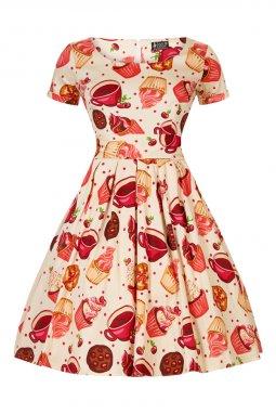 Retro šaty pro plnoštíhlé Daniella krémové s dortiky