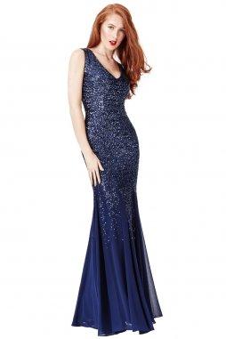 Luxusní společenské šaty Petronilla tmavě modré