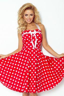 Rockabilly retro šaty Vivien II červené s bílými puntíky