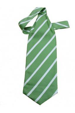 Kravatová šála zelená s bílými proužky