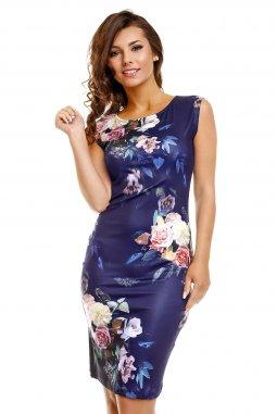 Společenské šaty Paris tmavě modré s květy