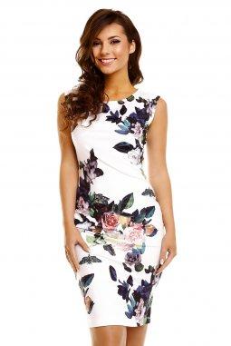 Společenské šaty Paris bílé s květy