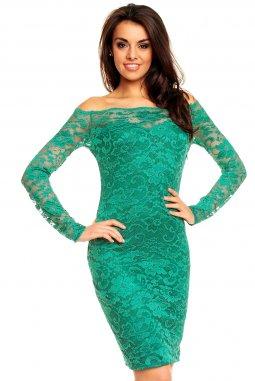 Plesové šaty Evelyn smaragdově zelené s krajkou