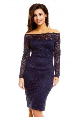 Plesové šaty Evelyn tmavě modré s krajkou
