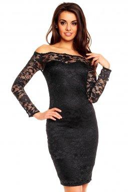 Plesové šaty Evelyn černé s krajkou