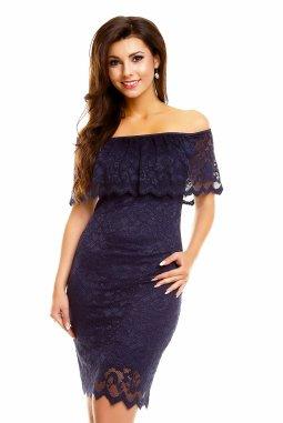 Plesové šaty Lisette tmavě modré s krajkou
