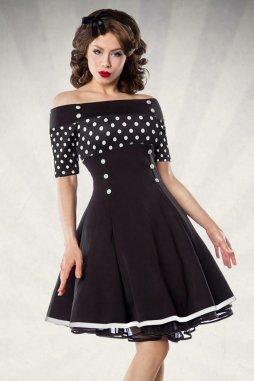 Rockabilly retro šaty Rosemary černé s bílými puntíky